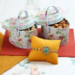 Rakhi Nut In Floral Box