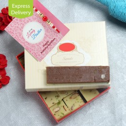 Chocolate Barfi And rakhi hamper