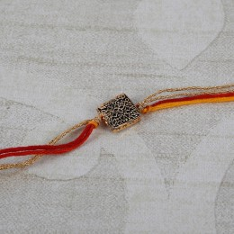 Antique Gold Square Rakhi