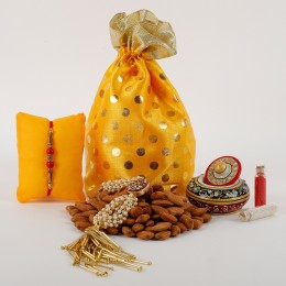 2 Rakhis And Crunchy Dry Fruits Combo